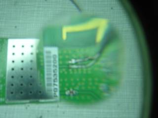 The pigtail soldered to the board