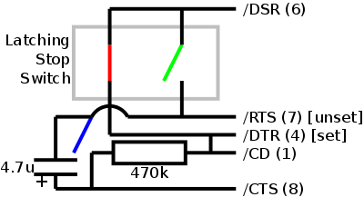 Wiring of the stop button to the serial ports' DB9 pins